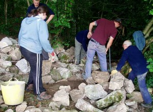 Dry stone walling volunteers
